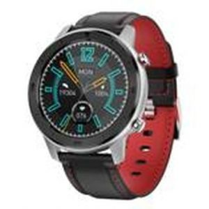 Moye SMART WATCH DT78 Black Leather Strap - Red Embroidery - Silver