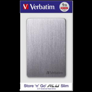 Verbatim EKSTERNI HDD Alu Slim HDD 1TB Grey 53662