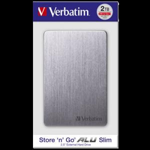 Verbatim EKSTERNI HDD Alu Slim HDD 2TB Grey 53665